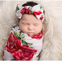 Wholesale Set Girl Retail - Retail Newborn Baby Girls Rose Flower Receiving Blankets Cotton Swaddles With Headband 2Pcs Sets 0-3 Monthes E624