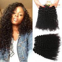 Wholesale Remy Afro Hair - Brazilian Virgin Hair Kinky Curly Human Hair Weave 3Pcs Lot Peruvian Brazilian Indian 8A Hair Bundles 100% Unprocessed Remy afro Curly Wave