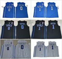 Wholesale Duke Blue - 2017 Duke Blue Devils College Basketball Jerseys 0 Jayson Tatum 1 Harry Giles New Black Blue Stitched University Basketball Jersey S-XXXL