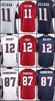 Wholesale Gronkowski Jersey White - Game Stitched Football #12 Tom Brady 87 Rob Gronkowski 11 Julian Edelman Blank Blue white Red Jerseys Mix Order