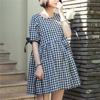 Wholesale Dresses For Feeding - Summer Cotton Plaid Patterm Maternity Dresses Loose Nursing Clothes for Pregnant Women Breastfeeding Dress for Feeding Clothing