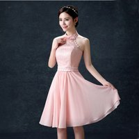 halter chiffon dress bandage 2017 nuovo cocktail e party short elegante colore rosa semi formale in occasione di $ 50 H3604