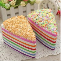 Wholesale Food Photography - Jumbo Rainbow Fake Cake Decorating Squishy Crumble Fusion Kawai Slow Rising Food Wedding Photography Toy Release Stress toys KKA2434