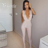 Wholesale Deep Vneck - Wholesale- 2017 New Free Shipping Fashion Runway Inspiration Sexy Trend Deep Vneck Plunge HL Bandage Jumpsuit Women Bodysuit