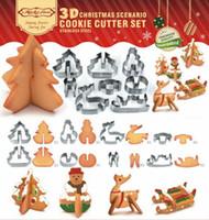 set de emporte-pièces en métal achat en gros de-Moule à biscuits en acier inoxydable 3D bricolage Double moule à gâteaux en sucre thème de Noël thème coupe-gâteaux en métal moule 8 pcs / ensemble