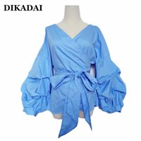 Wholesale Black Blouses For Women - Plus Size 4XL 3XL Ruffle Trim Blouse Shirts for Women Sexy Puff Sleeve Wrap Tops Black Blue color Bow tie Autumn and Winter Clothing