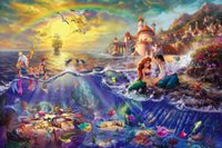 Wholesale Canvas Wall Decor Free Shipping - Framed The Little Mermaid Thomas Kinkade Oil Painting,HD Art Canvas Prints Home Decor Wall Art On Canvas,Multi sizes,Free Shipping,Pr002
