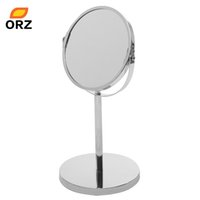 Wholesale Desktop Stand Metal Makeup Mirror Two sided Silver Decorative Bathroom Cosmetic Mirror