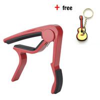 Wholesale guitar accessories resale online - Red Single handed Guitar Capo Quick Change Acoustic Guitar Accessories With Free Guitar Keychain Aluminum