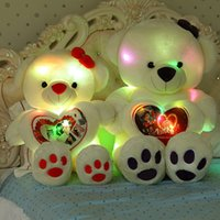 Wholesale Super Large Teddy Bear - Wholesale- J017 Super Lovely Large Size 60cm Soft LED Glowing Love Teddy Bear Stuffed Doll Plush Toys With Speaker Gifts For Girls