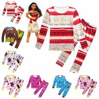 Wholesale Toddler Wholesale Pajamas - 7 Designs Moana Clothing Sets Baby Autumn Toddler Kids Children Long Sleeve Anime Printed Pajamas Clothes Suits 2pcs set CCA6895 50set