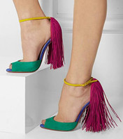 Wholesale Thin Red Tie - Wholesale-New Sexy Open Toe High Heels Fringe Thin Heels Pumps Patchwork Sandals Ankle Strap Runway Party Shoes Women 873