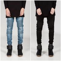 черные серые джинсы мужчины оптовых-Wholesale-Fashion Designer Men Skinny Biker Jeans Joggers Pleated Hip Hop Swag Moto Black Grey Blue Denim slim fit strech Pants For Man