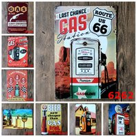 Wholesale metal craft art - Gasline Gas Oil Beer Route 66 Vintage Craft Tin Sign Retro Metal Painting Antique Iron Poster Bar Pub Signs Wall Art Sticker(Mixed designs)