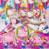 Смазливая KITTY Theme Birthday Party Stage Set Kids Kids Party Mask Cap Blowout Decoration Props Pink Party Supplies