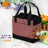 Wholesale Lovely Lunch Bags - Wholesale- 2017 new camping picnic bag Japanese lunch bags square striped drawstring bag lovely Bento Lunch Boxes with small bags