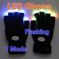 Wholesale Black Gloves For Kids - LED Light Gloves Kids Flashing Gloves Glow 7 Mode LED Rave Light Finger Lighting Mitt Black for Halloween Party Festival