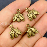 Wholesale Tibetan Bee - 100pcs-Antique Tibetan Silver Tone Bronze Bee Charms Pendant Best Gifts For Lovely Connector DIY Jewelry Making