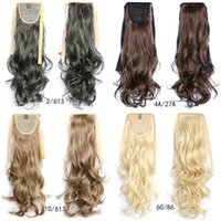 """Wholesale Wavy Ribbon - Wholesale-22"""" Synthetic Long Wavy Drawstring Ribbon Ponytail Hair Extensions curly Hairpiece Fake Hair heat resistanc hair pieces 0022"""