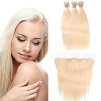 Wholesale Platinum Blonde Closure - 8A Platinum Blonde Straight Brazilian Hair With Lace Frontal Closure #613 Bleach Blonde Straight Lace Frontal With Bundles Blonde Human Hair