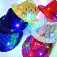 Wholesale Hip Hop Jazz Club - LED Jazz Hats Glow Fashion Colorful Flash Cap Male And Female Club Party Dance Hip Hop Cap Christmas Gift 9 zj R