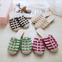 Wholesale Women S Flat Slippers - Women 's cool slippers on the summer of the new linen hemp rope weaving hollow outside the slippers female
