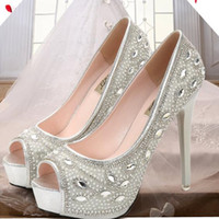 10 CM High Heel 2017 Sparkling Silver Rhinestone Wedding Shoes Sandals para as mulheres Peep Toe 3 CM Platform Party Bridal Accessories Vestidos