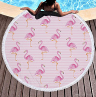 Wholesale Table Cloth Tassel - Tassels Beach Towel Round Flamingo Soft Fabric Tapestry Practical Table Cloth Sunscreen Shawl Picnic Mat Portable Blanket 32jm J R