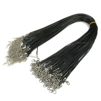 Wholesale leather pendant cords - Black Leather Cord Rope 1.5mm Wire for DIY Pendant Necklace Gift With Lobster Clasp Link Chian Charms Jewelry 100pcs lot Wholesale