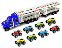 Wholesale Toy Power Trucks - Power ATV Trailer truck set Children's Friction Toy Transporter Truck Ready To Run 1:32 Scale w  8 Toy ATVs toy set #270562
