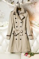 Wholesale Classic Trench Coat Women - European and American women's wear of the classic double-breasted waterproof trench coat with a long, autumn and winter coat