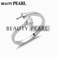 Wholesale Mounting Silver Rings - 5 Pieces Wholesale Simple Ring Design Jewelry Findings Zircon 925 Sterling Silver Pearls DIY Ring Mount
