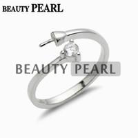diy ring tasarımları toptan satış-Basit Yüzük Tasarım Takı Bulguları Zirkon 925 Ayar Gümüş İnciler DIY Yapma Halka Dağı 5 Parça