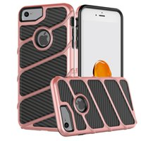 Wholesale Cellphone String - For Iphone X 8 7 Plus Samsung Galaxy Note 8 S8 Plus PC+TPU Carbon Fiber String Design Hybrid Armor Heavy Duty Cellphone Cases