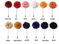 Wholesale Silk Suits China - 2017 NEW Colored silk corsage wedding brooches pin men's suit flower brooches for wedding party many colors can choose
