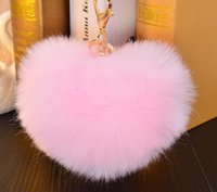 Wholesale Key Holder Bag For Men - 12cm Rabbit Fur Ball Keychain fluffy keychain fur pom pom llaveros portachiavi porte clef Key Ring Key Chain For Bag accessories cc819