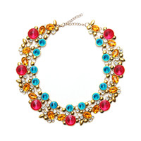 Wholesale Gemstone Europe Ship - Free Shipping Europe and the United States retro new ladies colorful flowers gemstones crystal necklace wholesale hot