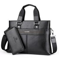 Wholesale 14 Laptop Shoulder Bag - 2017 Fashion Men PU Leather Crossbady Bag Men Handbags Male Designer Business Briefcase 14 inch Laptop Bag Shoulder Bags