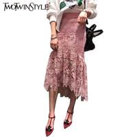 Wholesale Midi Tight Skirts - [TWOTWINSTYLE] Women Summer Lace Long Mermaid Skirt Lolita Sexy Tight Midi Skirts A line saia Slim 2017 Fashion New Clothing 7413