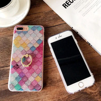 Wholesale Apple Fish - Gfaith Colorful Fish Scales Case for iphone 6 6S 7 Plus OPPO R9 R9S Plus Coque Glitter Rhinestone Stand Cover Shimmering Protective Shell