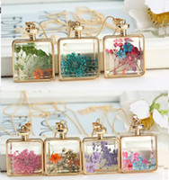 Wholesale Murano Glass Perfume Bottle Pendant - murano Square shape lampwork glass pendants necklaces jewelry dry flowers perfume vial bottle pendants necklace wholesale
