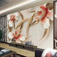Wholesale Chinese Silk Wall Painting - Custom 3d photo wall paper relief Lily stylish minimalist modern European large mural for living room wallpaper 3d painting