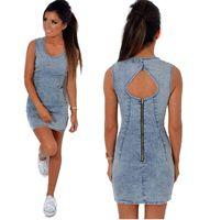 Wholesale Women Summer Jeans Dress - Wholesale- Women's O-Neck Denim Jeans Dress Sleeveless Summer Sundress
