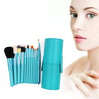 Wholesale Makeup Brushes Cup Leather - Professional Cosmetics Brush Set For Powder Blusher BB Cream Lip Pencils 12pcs Makeup Brush Set Beauty Tools + Leather Brush Holder Cup