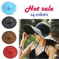 HOT Sale 14 Style Free Adult Girl Fashion Big Sun Hat Summer Beach Eave Foldable  Sun Protection M031 4e9a9a0148c8