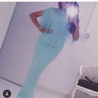 importados más vestidos de talla al por mayor-Turquesa Vestidos de noche Abalorios borla Cap manga Árabe Dubai Vestido de fiesta Longitud del piso por encargo Imported Vestidos de fiesta más tamaño
