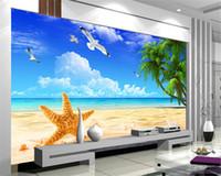 fondos personalizados impresos por computadora al por mayor-Custom Beach Scenery Starfish Blue Sky 3D Foto de fondo Computadora Impreso Sala de estar TV Fotografía Telón de fondo Mural Wallpaper