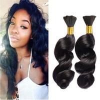 бразильские курчавые волосы оптовых-Loose Wave Bulk Hair для плетения бразильских волос Loose Curly Human Braiding Hair Bulk Лучшая цена