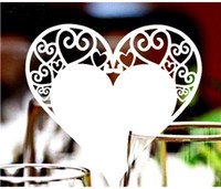 Wholesale Red Heart Champagne Glasses - Laser Cut Heart Wine Glass Card Table Name Place Escort Cup Card Party Wedding Decorations For Home 200pcs lot free shipping