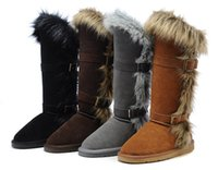 Wholesale pvc christmas decorations - High to help non-ski boot Fox fur decoration winter warm snow high quality women snow boots